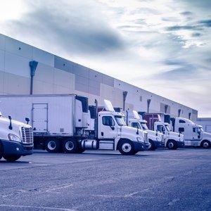 Trucks loading and unloading